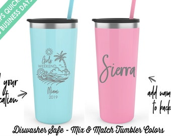 Miami Girls Weekend Tumblers  Girls Weekend Girls Getaway Personalized Tumbler Bachelorette Party Tumblers Personalized Cups Etched Tumblers