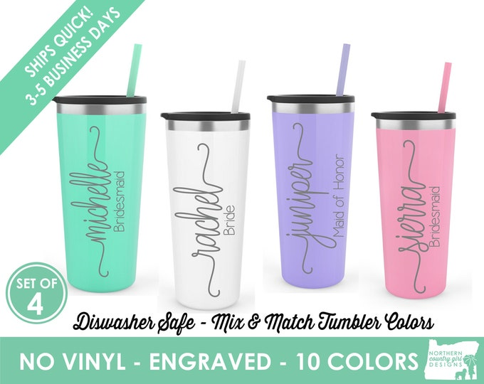 Set of 4 Tumblers- Personalized Skinny Tumblers- Personalized Engraved Stainless Steel Tumblers- Etched Tumblers- Custom Tumblers