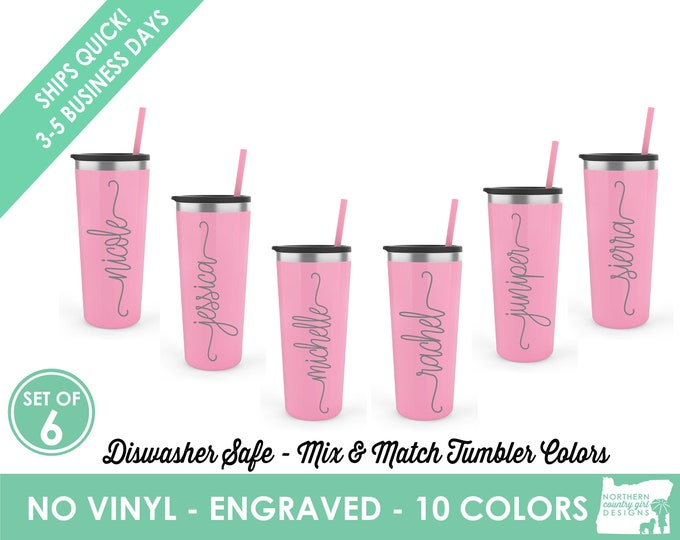 Set of 6 Personalized Tumblers, Skinny Steel Tumblers, Custom Tumbler, Stainless Steel Engraved Tumbler, Tumbler with Name, Bridesmaid Gifts