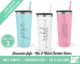Set of 3 Engraved Tumblers, Custom Tumblers, Tumbler with Straw, Personalized Tumbler, Stainless Steel Tumbler, Engraved Cup, Custom Gifts