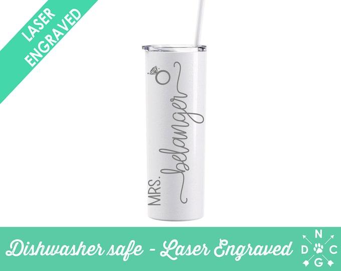 Mrs Tumbler- Personalized Skinny Tumbler- Stainless Steel Tumbler- Mrs Gift- Mrs- Just Married Gift- Dishwasher Safe