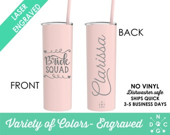 Bridesmaid Etched Tumbler Bridesmaid Gift Insulated Tumbler Bridal Party Bachelorette Party Wedding Tumbler Personalized Tumbler with Straw