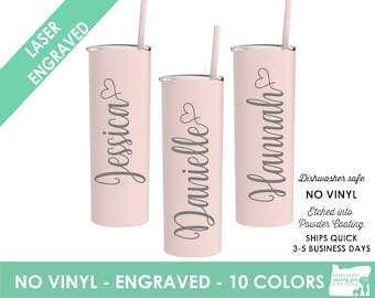 Set of 3 Tumblers, Bridesmaid Etch Tumbler, Insulated Tumbler, Bridal Party, Bachelorette Party Wedding Tumbler, Personalized, Tumbler Straw