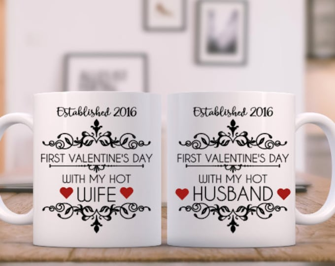 first valentines day // hot wife  // hot husband // First Valentines Day Married Gift // coffee mug // 1st valentines // vday gift // vday
