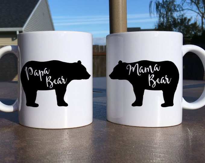 His and Her Mugs, His and Her Gifts, Gifts For Parents, Gifts For Mom, Gifts for Dad, Gifts For Parents Of The Bride, Bear Mug, Mama Papa