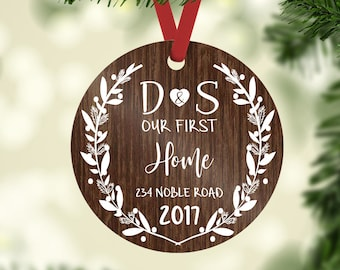 first home ornament / housewarming gift / Christmas ornament / new home ornament / our first home / first home / custom ornament / monogram