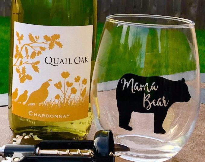 Mama Bear Wine Glass // Mama Bear // Wine Glass // Wine // Mom Life // Stemless Wine Glass // Mama // christmas gift // mom gift // mama
