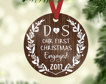 engagement ornament / engagement gift / christmas ornament / custom ornament / engaged ornament / wedding ornament / wedding gift / first