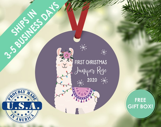 Babys First Christmas Ornament Girl Baby Ornament Personalized Name Baby Christmas Ornament Baby Girl Christmas Ornament Llama Year
