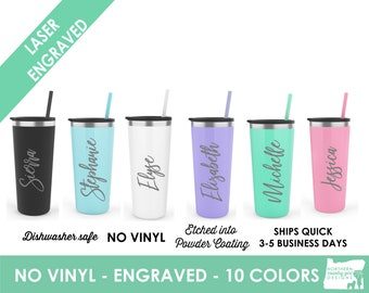 Set of 9 Personalized Tumblers, Skinny Steel Tumblers, Custom Tumbler, Stainless Steel Engraved Tumbler, Tumbler with Name, Bridesmaid Gifts