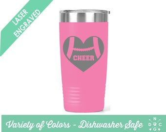 Etched Football Cheer Heart / Football Tumbler / Fall Tumbler / Football Season / Personalized Football Tumbler / Sports Tumbler