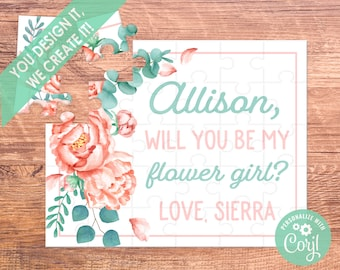 Flower Girl Proposal Card Flower Girl Proposal Puzzle Ask Flower Girl Puzzle Proposal Flower Girl Proposal Gift Pink Mint Green will you be