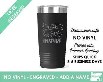 love teach inspire tumbler / Teacher Coffee Cup / Gift for teacher / teacher retirement gift / teacher appreciation / Custom Coffee Mug