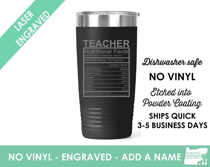 Teacher Ingredient Tumbler / Teacher Coffee Cup / Gift for teacher / teacher retirement gift / teacher appreciation / Custom Coffee Mug