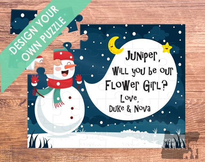 Christmas flower girl puzzle / flower girl gift / will you be my / flower girl / flower girl proposal / flower girl card / be my flower girl