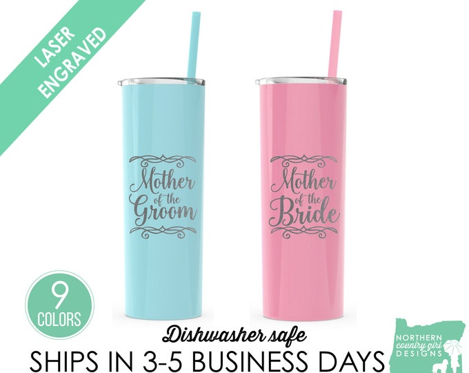 Set of 2, Mother of the Bride Tumbler, Mother of the Groom Tumbler, Parents of the Bride, Mother of the Bride Gift, Mother of the Groom Gift