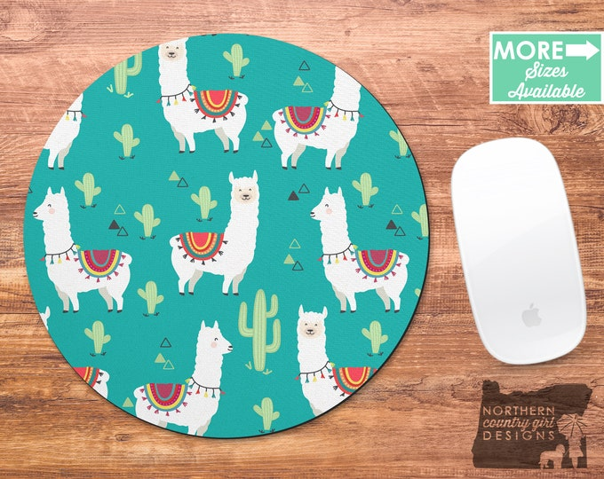 llama / mouse pad / llama mousepad / llama mouse pad / llama cactus mousepad / cactus / office decor / mouse mat / desk accessories