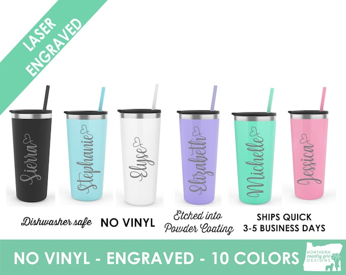 Set of 10- Stainless Steel Tumblers- Personalized Tumblers- Personalized Etched Tumblers,- Personalized Tumblers- Engraved Tumblers- Tumbler
