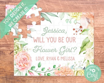 flower girl proposal flower girl puzzle flower girl gift flower girl will you be my be my flower girl bridesmaid proposal puzzle coral
