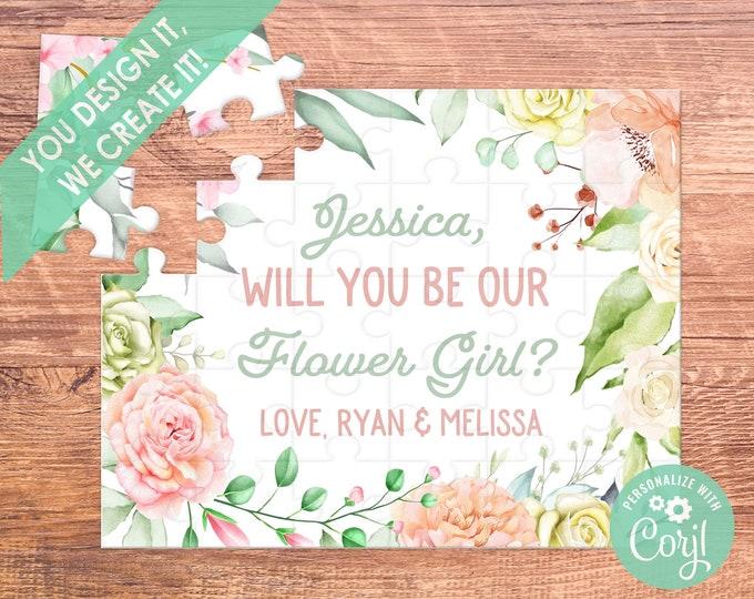 flower girl proposal flower girl puzzle flower girl gift flower girl will you be my be my flower girl bridesmaid proposal puzzle coral