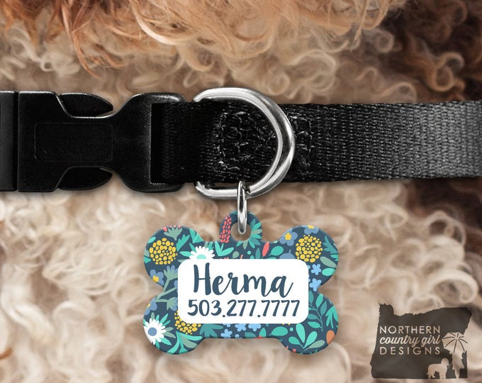 Custom Dog Tag for Dogs Dog ID Tags Personalized Pet Floral Pet Tag Pet Tags Pet ID Tag Pet id Tags for Dog Tag ID Dog Tag Dog Tags