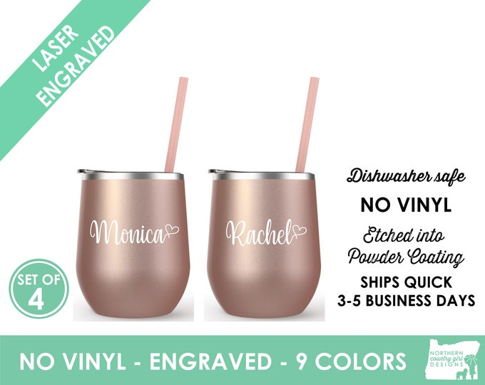 Set of 4 Rose Gold Wine Tumblers- Engraved Cup  Wine Cup with Lid Bride Wine Cup- Personalized Wine Tumbler Personalized Cup Stainless Steel