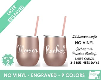 Set of 2 Rose Gold Bachelorette Tumblers, Bridesmaid Gift, Bachelorette Party Favors, Rose Gold, Bride and Bridesmaid Cups, Stemless Wine