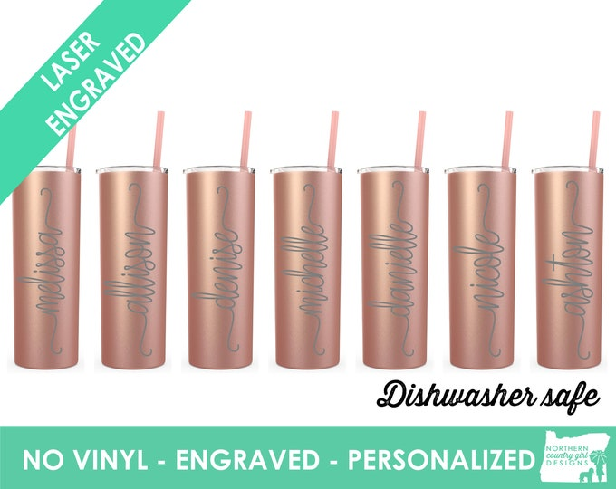 Set of 7 Rose Gold Tumblers Personalized Rose Gold Tumbler Bridesmaid Tumbler Rose Gold Cup Straw Custom Tumbler Bridal Tumblers etched