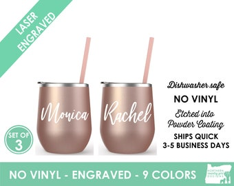 Set of 3 Rose Gold Wine Tumblers- Engraved Cup  Wine Cup with Lid Bride Wine Cup- Personalized Wine Tumbler Personalized Cup Stainless Steel
