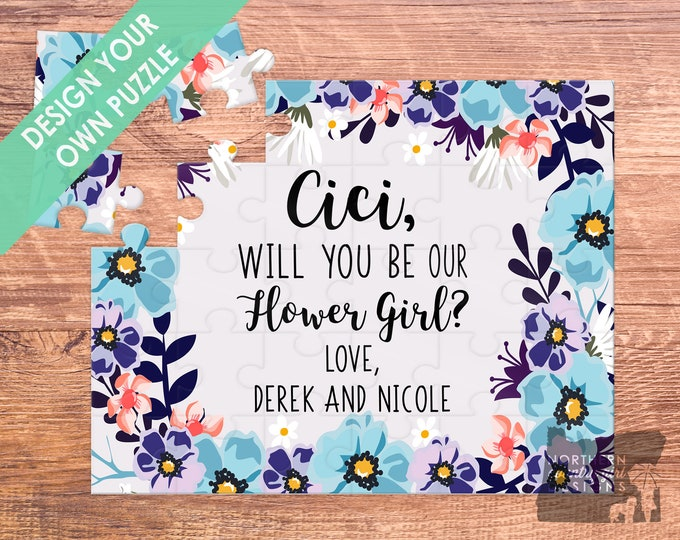 Flower girl puzzle - flower girl card - flower girl proposal - flower girl gift - puzzle