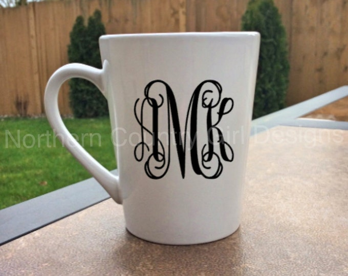 Monogram Mug //  Glitter Monogram Mug //  Personalized Mug (Made to Order) // Monogram Coffee Mug
