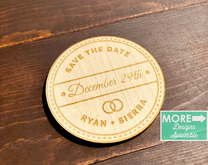save the date wood magnet / save the date / invitations / save the date cards / save the date stamp / wedding / wedding favor / wood magnet