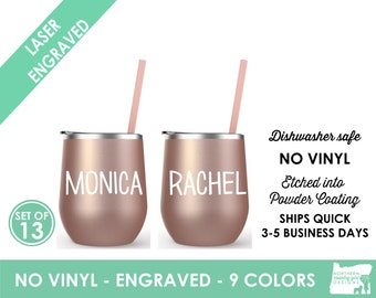 Set of 13 Rose Gold Tumblers Personalized Rose Gold Tumbler Bridesmaid Tumbler Rose Gold Cup Straw Custom Tumbler Bridal Tumblers etched