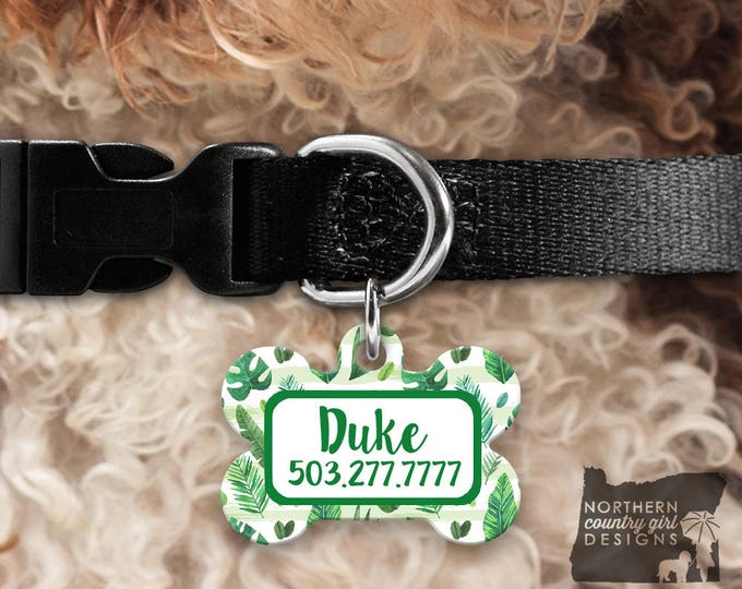 Custom Dog Tag for Dogs Dog ID Tags Personalized Pet Banana Leaves Pet Tag Pet Tags Pet ID Tag Pet id Tags for Dog Tag ID Dog Tag Pink cute