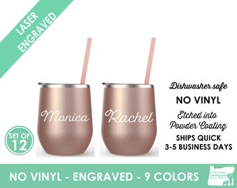 Set of 12 Rose Gold Tumblers Personalized Rose Gold Tumbler Bridesmaid Tumbler Rose Gold Cup Straw Custom Tumbler Bridal Tumblers etched
