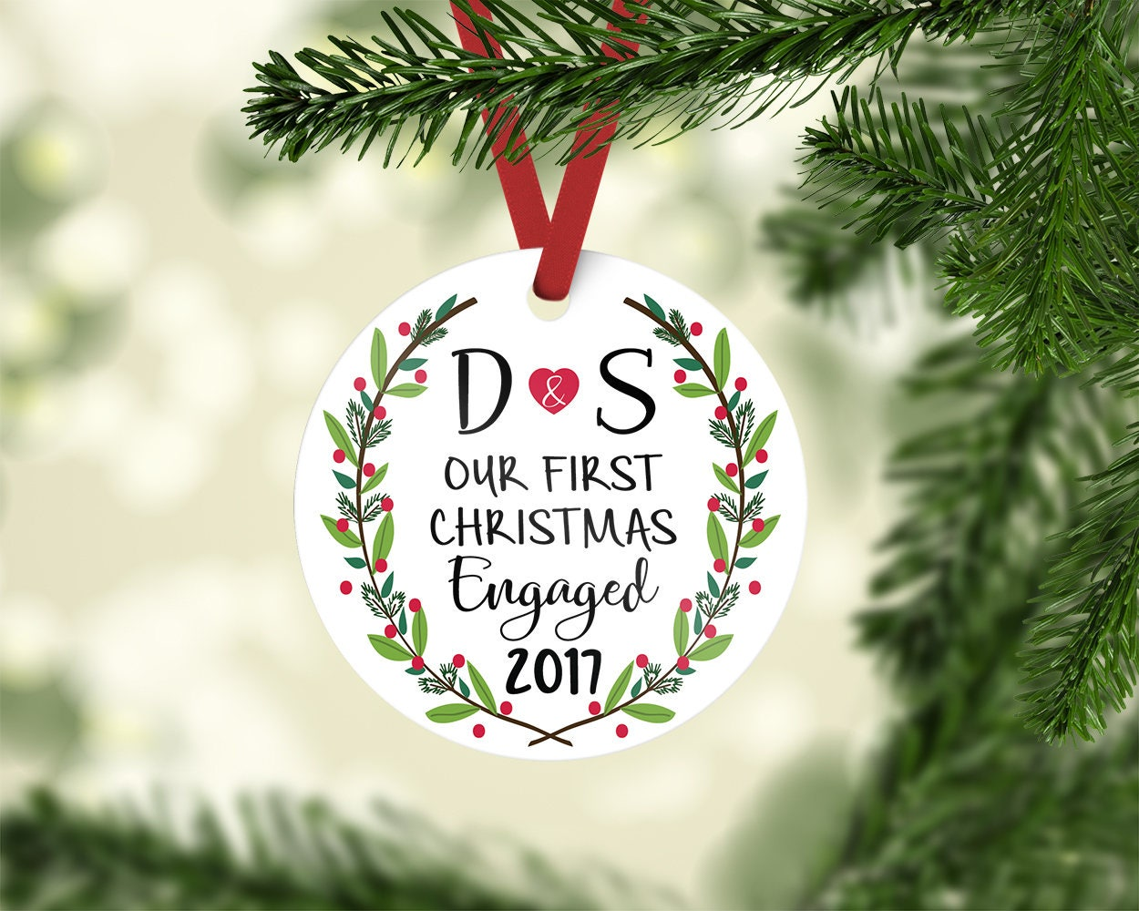 engagement ornament / engagement gift / christmas ornament ...