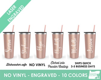 Set of 8 Personalized Tumblers, Skinny Steel Tumblers, Custom Tumbler, Stainless Steel Engraved Tumbler, Tumbler with Name, Bridesmaid Gifts
