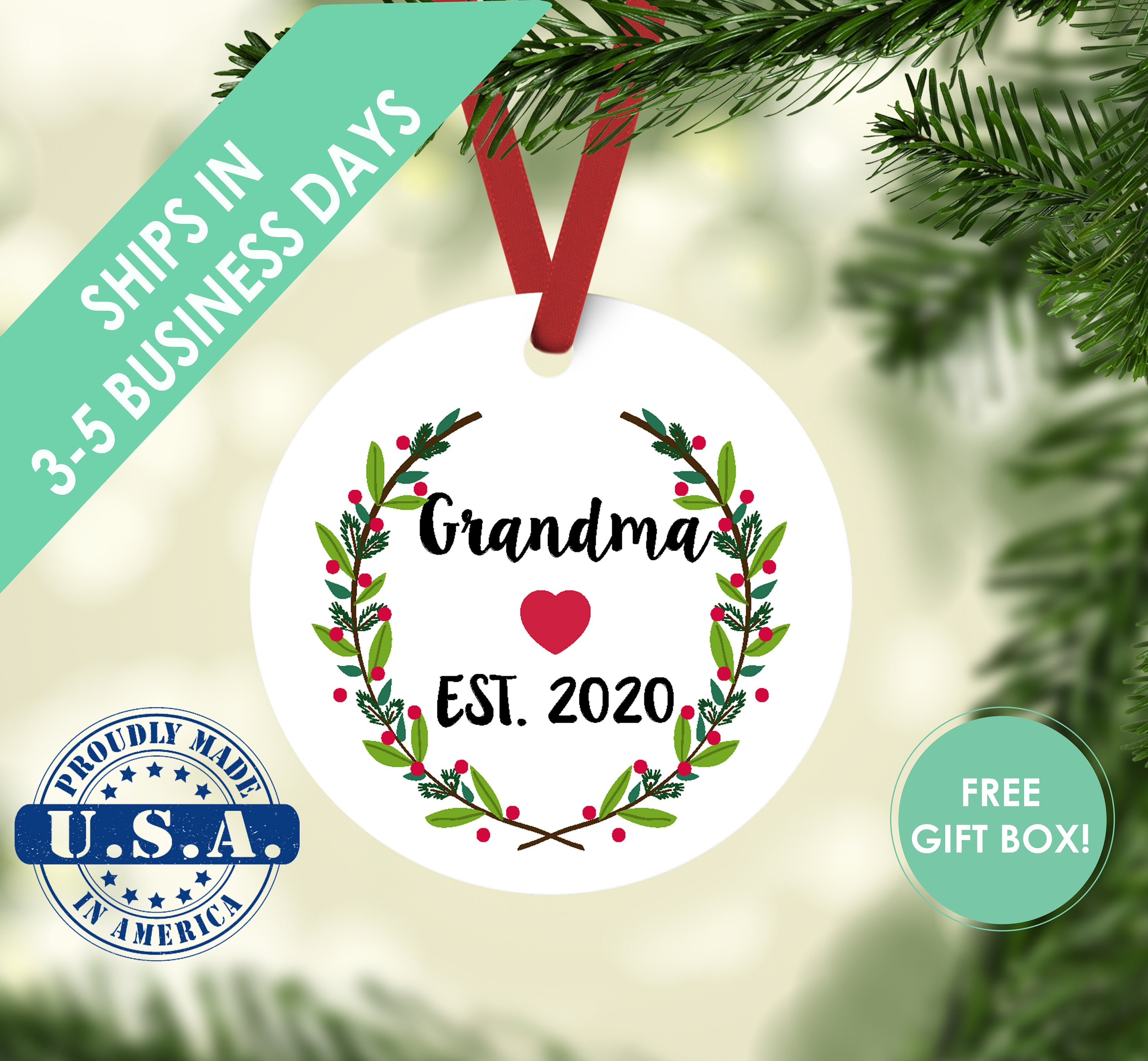Customize Your Own! 1st Time Grandma 2018 Ornaments You Can Personalize