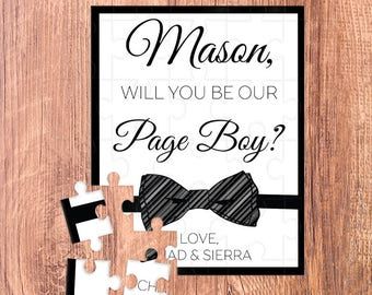 page boy puzzle / ring bearer / ring bearer gift / ring bearer proposal / puzzle / ask ring bearer / ring bearer card / will you be our