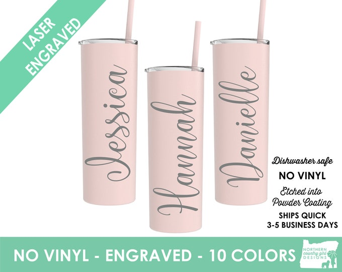 Set of 4 Tumblers- Personalized Skinny Tumblers- Personalized Engraved Stainless Steel Tumblers Etched Tumblers Custom Tumblers - Bridesmaid