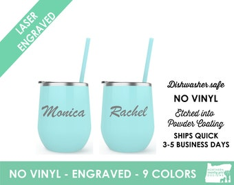 Wine Tumbler Custom Personalized Monogrammed Tumbler with Lid Cup Stemless Bridesmaid Gift Bachelorette Gift Custom Wine Cups With Straw