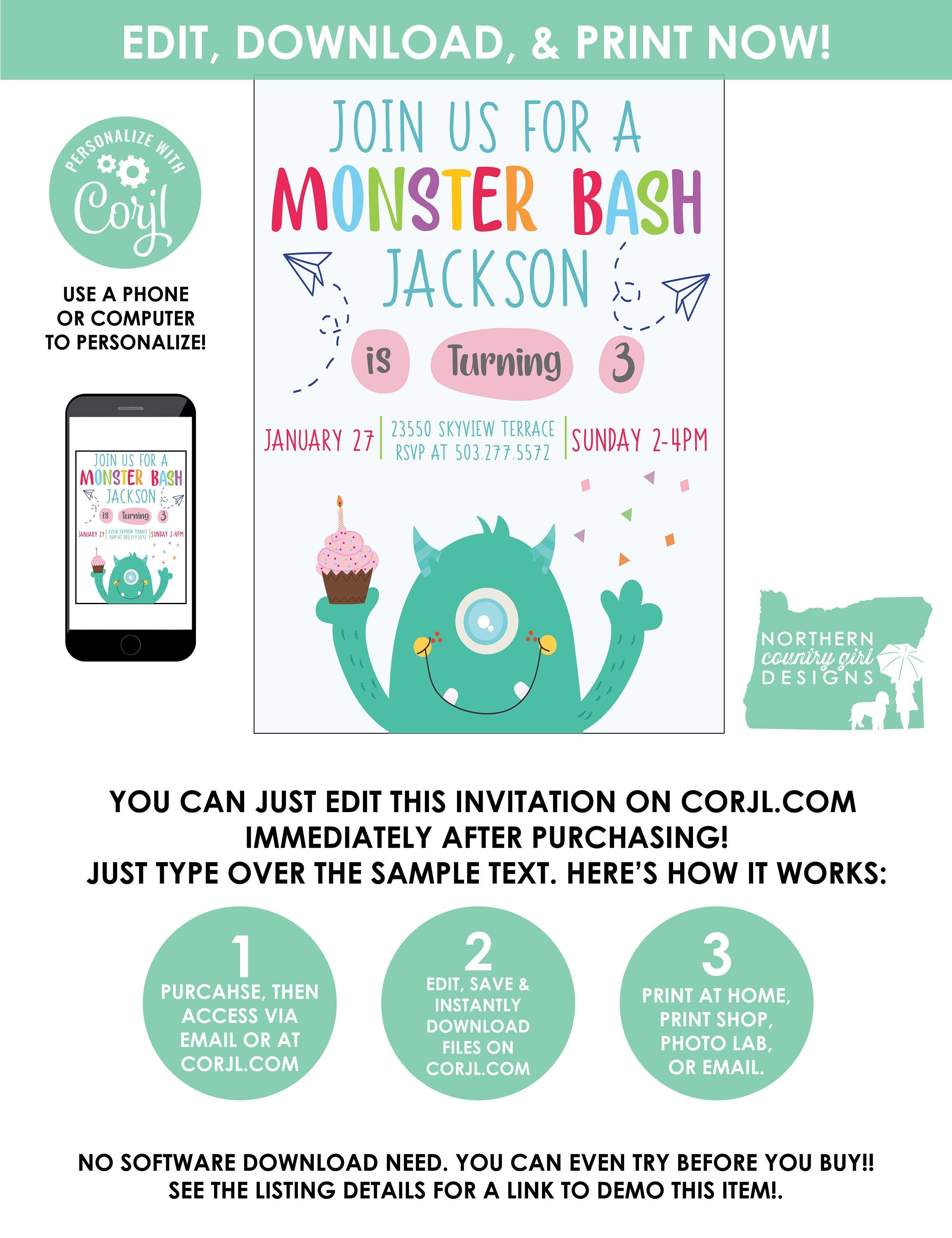 Monster Party Invitation Template / Monster Birthday Invitation