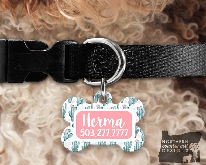Custom Dog Tag for Dogs Dog ID Tags Personalized Pet cactus image 0