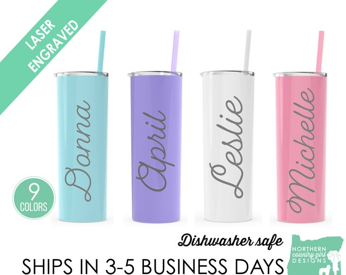 Set of 4 Stainless Steel Etched Tumblers. Bridesmaid Tumbler with Name, Custom Wedding Party Favors, Flower Girl Gift, Engraved Tumblers