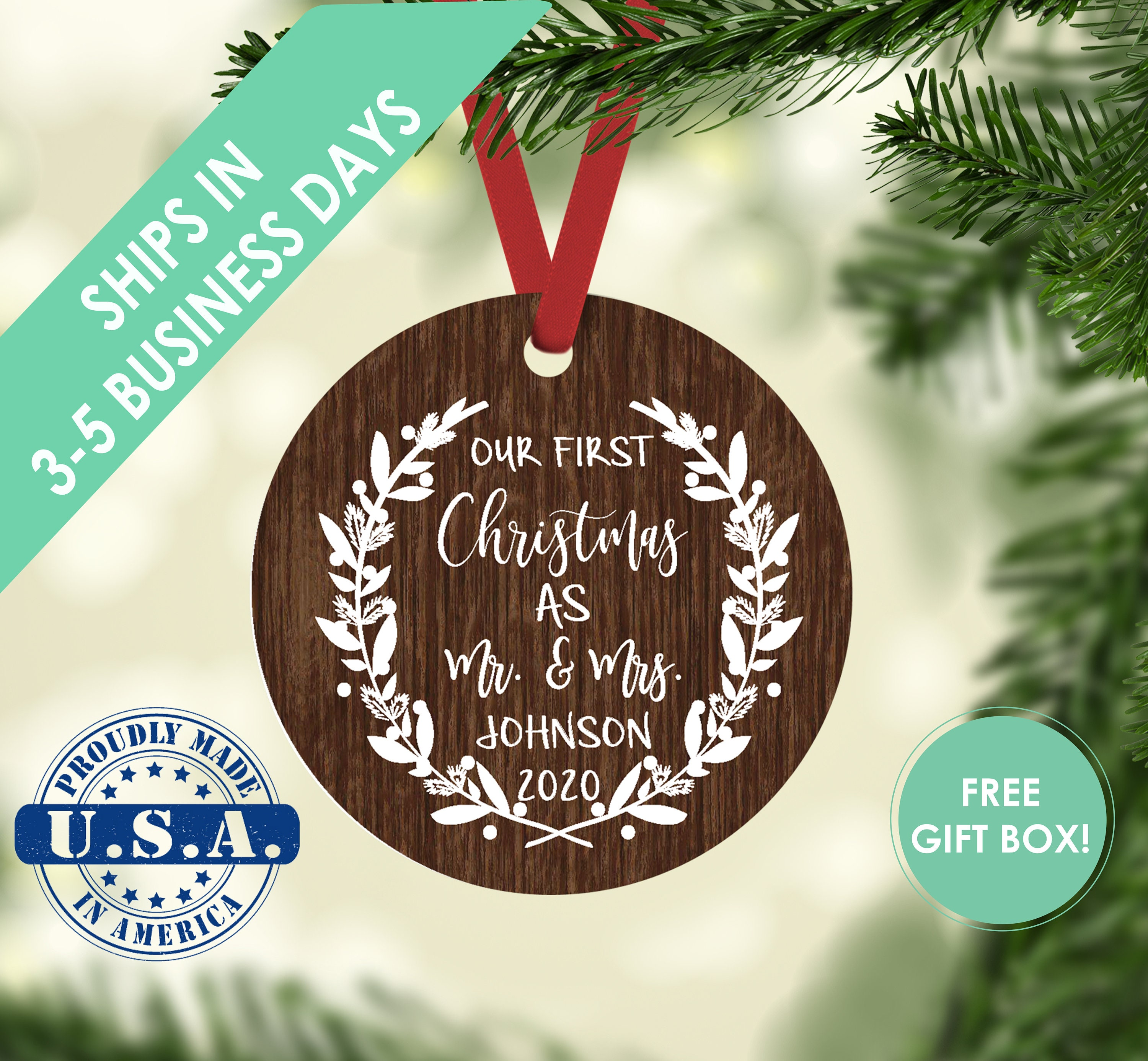 Personalised Ornament Personalized Just Married Ornament Christmas Ornaments Married Ornament Personalized Mr /& Mrs Christmas Ornament