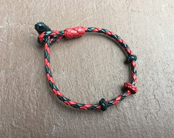 Men's Leather bracelet- hand knotted and braided red and blue kangaroo leather bracelets