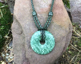 Granite donut leather necklace; hand knotted and braided leather necklace; green necklace; kangaroo keather necklace; large donut pendant