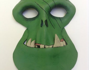 Leather Orc Mask with hand knotted and braided green leather headband