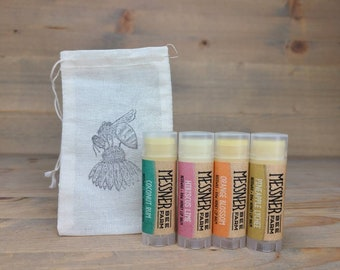 SUMMER LOVE'N collection of 4 Lip Balms - Raw Honey and Beeswax Lip Balm!