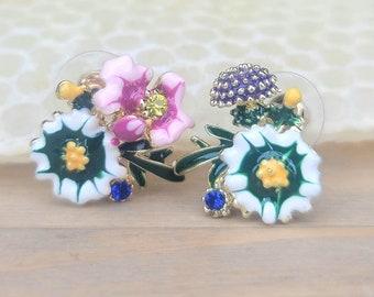 Mismatch Forest Blossom Bouquet Earrings - honey earrings, nature lover, beekeeper gift, flower earrings, bee earrings, hexagon earrings